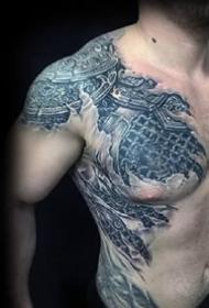9张男性胸部逼真的3d立体个性纹身图案