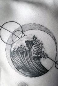 男人胸部图案-10张设计感十足的胸部几何纹身图案