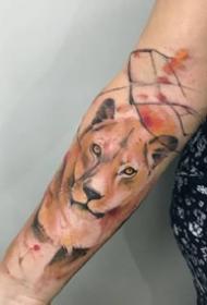 几张重彩色的漂亮狮子纹身图案作品