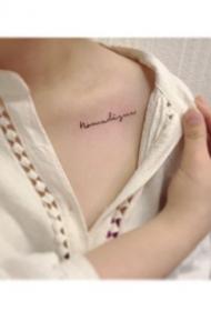 锁骨纹身贴效果图--一组女生锁骨处的简约小清新纹身贴图片欣赏