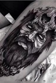 国外一组腿部暗黑纹身图案作品9张