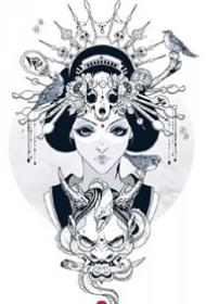 9张艺妓相关的艺伎纹身手稿和图案作品欣赏