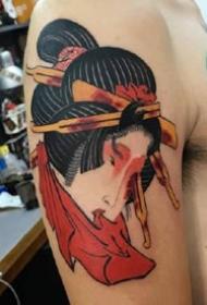来自日本的艺伎生首纹身图案作品9张