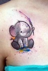 一组可爱的大象小象的纹身图案作品欣赏