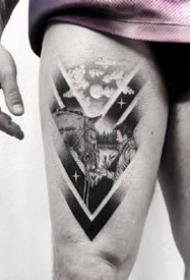 漂亮的黑灰几何点刺纹身作品图案9张