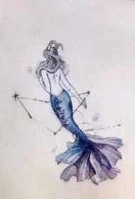 美人鱼刺青---唯美漂亮的一组小美人鱼纹身图案9张