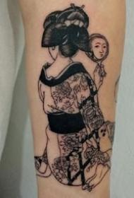 一组风格个性的日本艺伎纹身图案作品9张