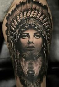 印第安女郎的一组9张纹身图案作品欣赏