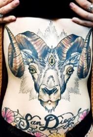 好看的羊头纹身图案作品一组9张