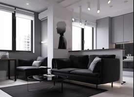 45平米极简黑色调单身公寓装修效果图