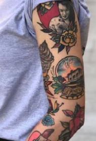 欧美shool风格的花臂和花腿纹身图案赏析