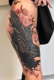 欧美花腿纹身:欧美风格的一组9张花腿纹身图案