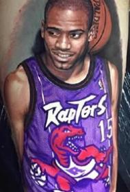 国外篮球明星的一组写实肖像纹身图案