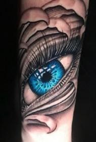 拥有蓝色眼球的一组逼真写实3d眼睛纹身作品图案