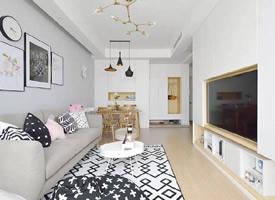 浅灰+大白北欧风格装修效果图欣赏,绿植为家增添了生机