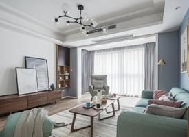 98㎡北欧风格家居设计,很喜欢蓝色与灰色搭配的效果,整体配饰舒适且惬意
