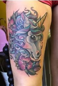 独角兽刺青:好看的一组独角兽纹身图案9张