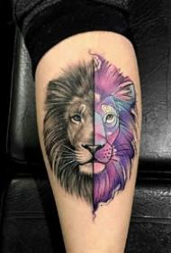 一组好看的狮子纹身设计图案作品9张