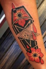 红色school风格的欧美棺木创意纹身