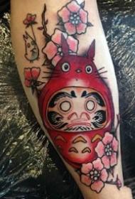 一组手臂上的红色调达摩蛋纹身图案