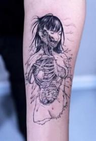 黑灰恐怖元素的一组漫画纹身图片