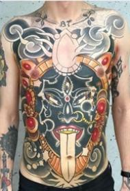 school风格的大满背纹身作品图案9张
