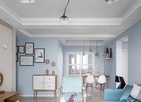 三居室浅蓝色墙面北欧风格装修效果图欣赏
