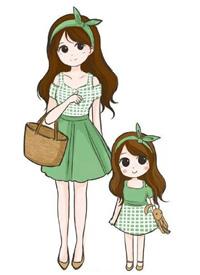 一组小女孩和妈妈的亲子装插画设计
