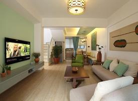 89平复式 薄荷绿的小清新婚房装修效果图