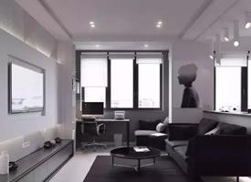 45平米极简色调单身公寓装修效果图