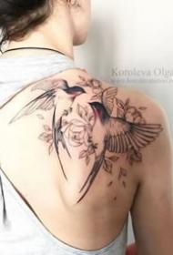 文艺十足的一组飞鸟纹身图案欣赏