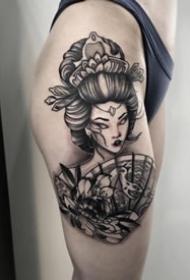 个性的一组日本艺妓纹身图案9张