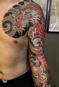 帅气的日式老传统半甲纹身图欣赏