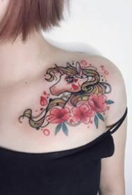 彩色的一组独角兽纹身作品9张