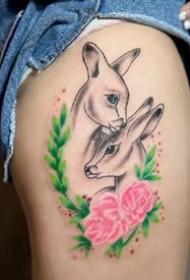 鹿头文身:一组漂亮的小鹿头纹身作品9张