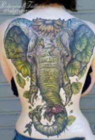霸气的一组大象和象神纹身作品图案