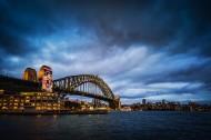 夜幕下的悉尼港口大桥图片_7张