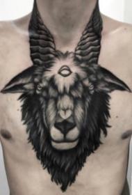 暗黑风格的一组羊头纹身图片
