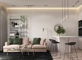 粉红和绿色的搭配,打造与众不同的单身女生公寓空间设计
