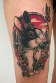 兔子主题的一组可爱小兔子纹身作品