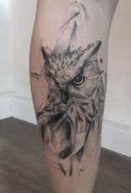 一组动物猫头鹰的纹身作品欣赏