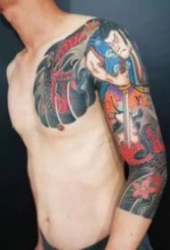 男性的传统风格大花臂纹身图案