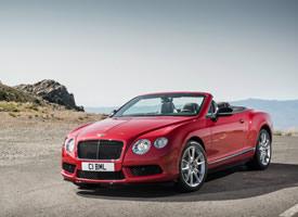 一组红色帅气敞篷宾利欧陆GT V8 S汽车