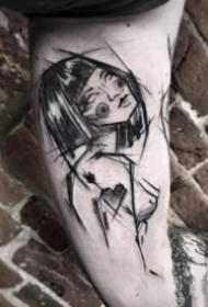 欧美风格的黑灰创意线条手臂纹身图案