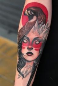 红色调new school风格的女郎纹身图片9张