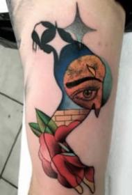 超现实主义的一组彩色设计纹身图案