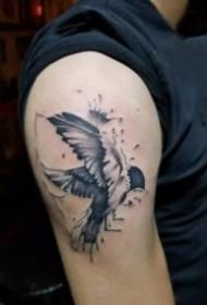 燕子主题的一组小清新飞燕纹身图