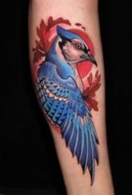 彩色newschool风格的喜鹊等花鸟纹身图案