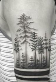 胳膊上的暗黑点刺森林树木纹身图案