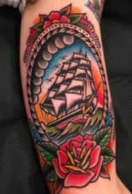 彩色oldschool风格的帆船纹身图案